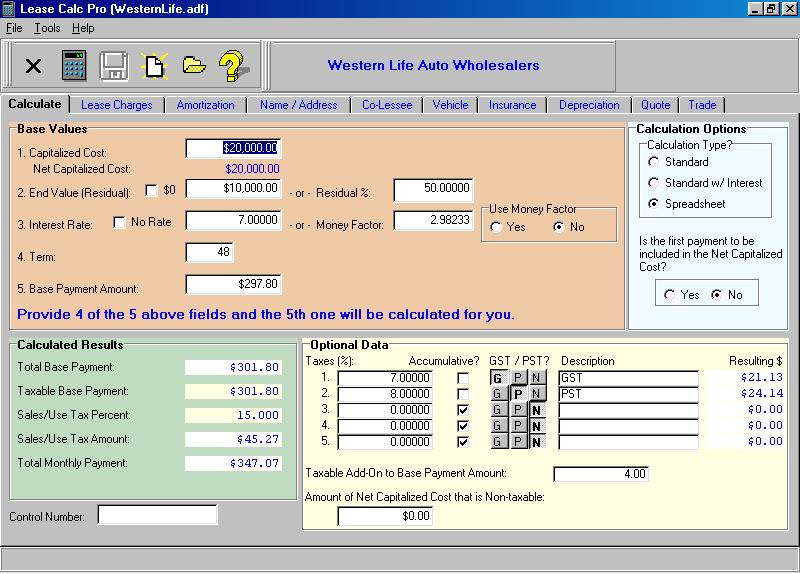 Click to view Lease Calc Pro 3.00 screenshot